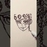 遊郭編【鬼滅の刃】宇髄天元 のイラストを一発描きで描いてみた!#Shorts