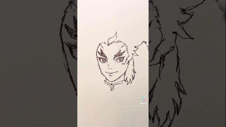無限列車編【鬼滅の刃】煉獄杏寿郎のイラストを一発描きで描いてみた!#Shorts