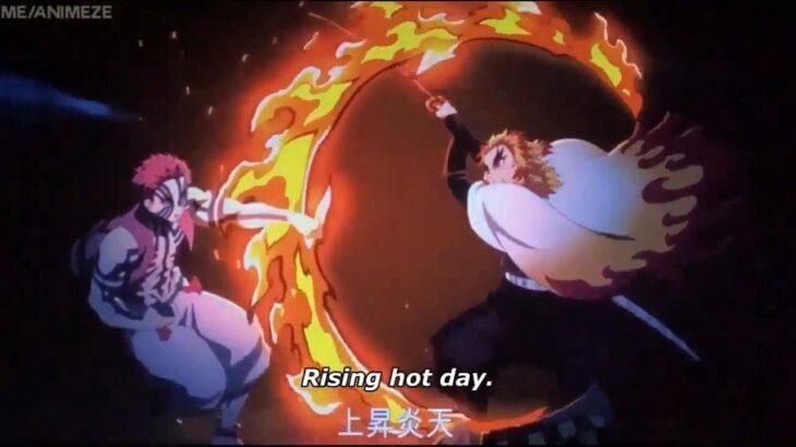 【鬼滅の刃】無限列車編 煉獄VS猗窩座のフル戦い Rengoku VS Akaza    Rengoku Death  「鬼滅の刃」無限列車編 demon slayer the movie mugen