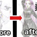 【鬼滅の刃】小学生が7ヶ月前のイラストをリメイクしてみた【アナログ】オリキャラ