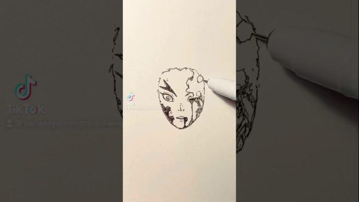 涙涙涙【鬼滅の刃】煉獄杏寿郎のイラストを一発描きで描いてみた!#Shorts