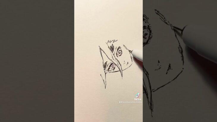 十二鬼月【鬼滅の刃】童磨のイラストを一発描きで描いてみた!#Shorts