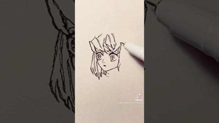 遊郭編【鬼滅の刃】伊之助のイラストを一発描きで描いてみた!#Shorts