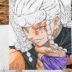 【イラスト】 鬼滅の刃 宇随天元 メイキング⑤ 絵 アナログ 描いてみた♪kimetsunoyaiba | Drawing Tengen Uzui demon slayer