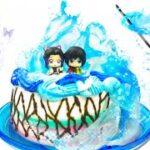 【水の呼吸をケーキで再現!】鬼滅の刃ぎゆしの❤︎ 富岡義勇と胡蝶しのぶを料理対決🔥フィギュアのようなデコレーションと羽織りを完全手作り🦋 Demon Slayer Cake DIY