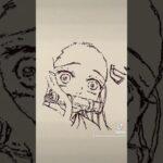 可愛いな。。【鬼滅の刃】竈門禰豆子のイラストを一発描きで描いてみた!#Shorts