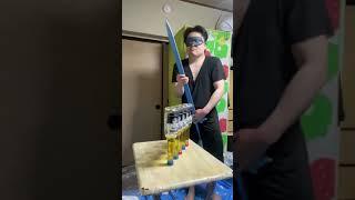 【鬼滅の刃】【かわいい】Blindfolded beer bottle challenge with my sword【紅蓮華】【心眼】