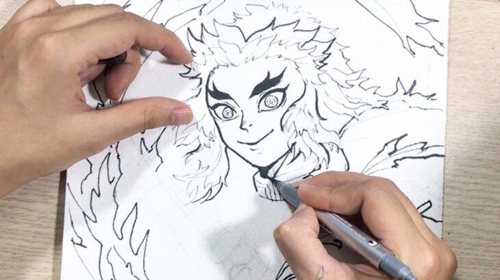 【鬼滅の刃/煉獄】リアルイラストれんごく?描いてみた。Drawing – Rengoku ( Kimetsu no yaiba/Demon Slayer ) [ 鬼滅の刃 ] Line art