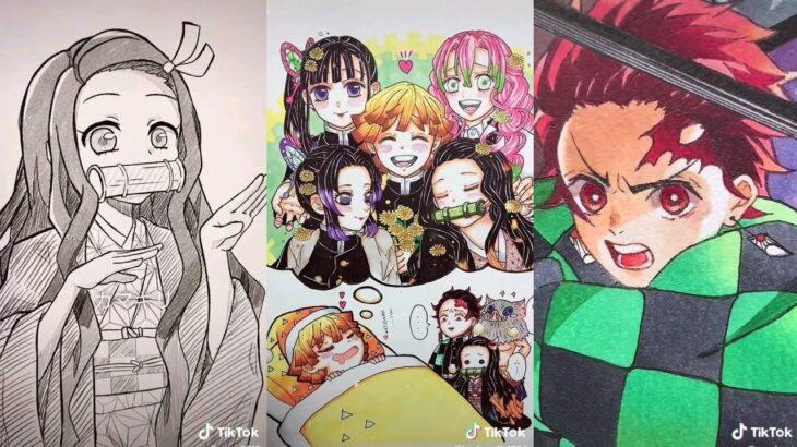 【鬼滅の刃×イラスト】描いてみた!ティックトック Kimetsu no Yaiba Painting club #1