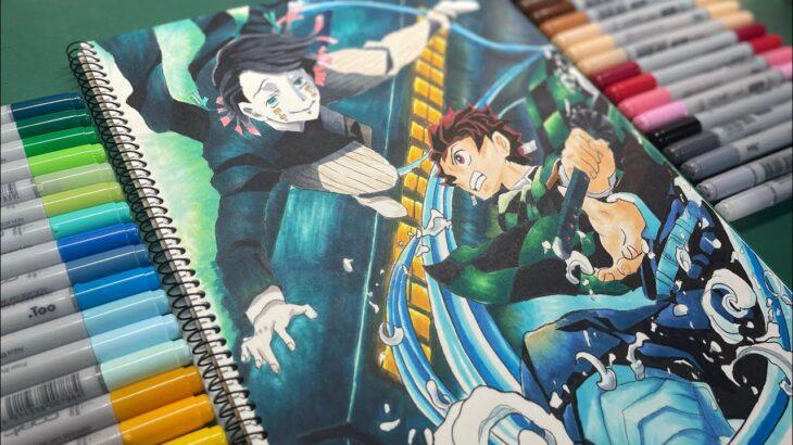 【鬼滅の刃】無限列車編 竈門炭治郎 魘夢(えんむ)描いてみた/Drawing TanjiroKamado vs enmu 【demon slayer】