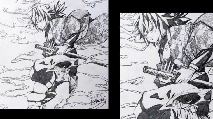 【冨岡義勇】シャーペンなのに一発描き…と思ったら今回は(笑)【鬼滅の刃イラスト】【Demon slayer】Kimetsu No Yaiba│Tomioka Giyu