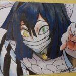 【イラストメイキング動画】100均Seriaのペンと筆ペンで描いてみた【伊黒小芭内】【鬼滅の刃】【Demon slayer】Kimetsu No Yaiba│Iguro Obanai